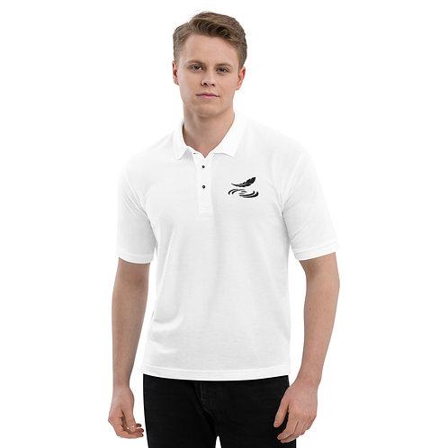 Men's Premium Polo White with Black Logo
