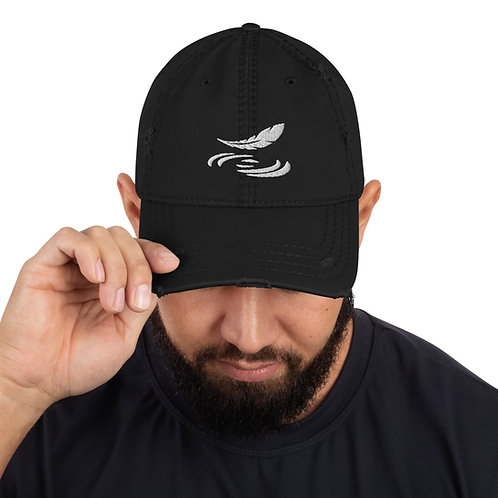 Distressed Dad Hat Embroidered Feather Logo