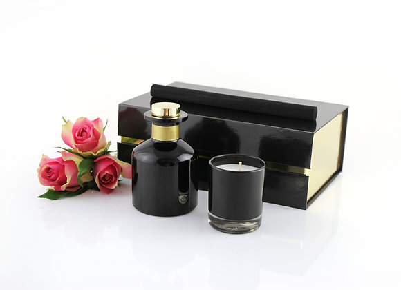 Black Diffuser and Candle Gift Box