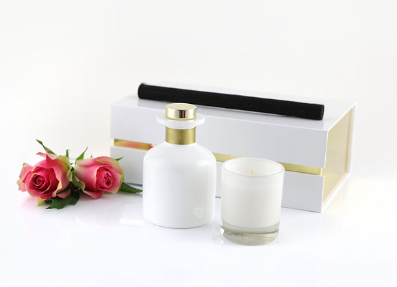 White Diffuser and Candle Gift Box