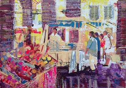 Levignac Market mixed media 25cm x 35cm.