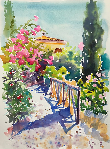 Midday Shadows La Finca watercolour 25cm