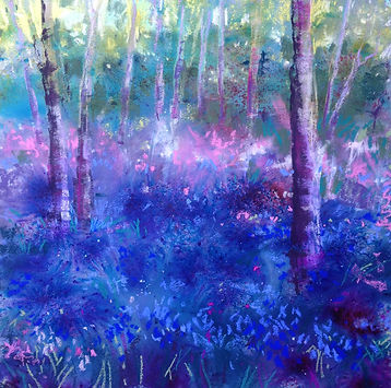 Bentley Bluebells in April mixed media 3
