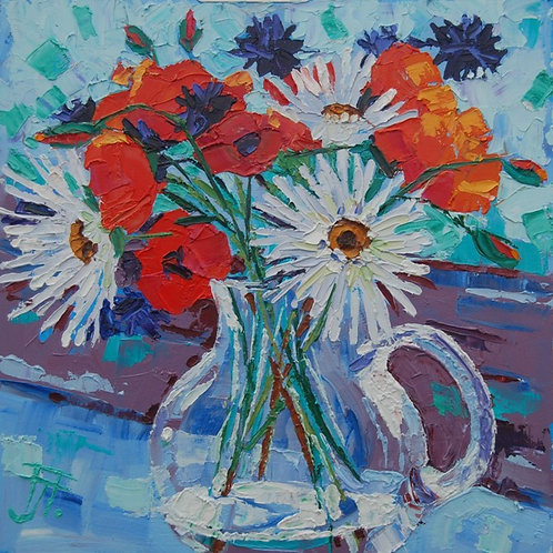 CARD - Poppies and Daisies