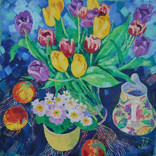 CARD - Tulips and Primroses
