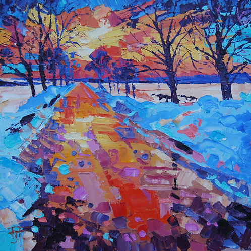 CARD - Snowy Sunset