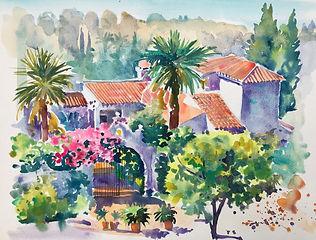 la Finca Malaga early morning watercolou