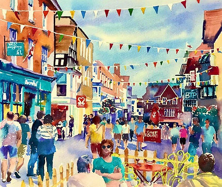 Salisbury High Street in Summer 38x34cms