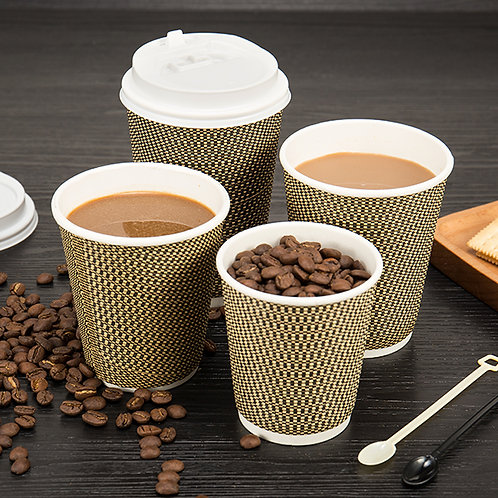 Three layers Biodegradable  texture paper coffee cup w/ pe coating 100pcs