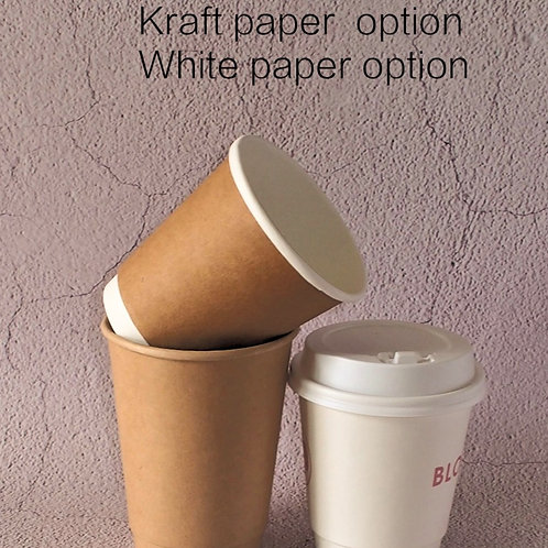80mm Diameter Double Walled Paper Coffee Cups w/ coating  100PCS