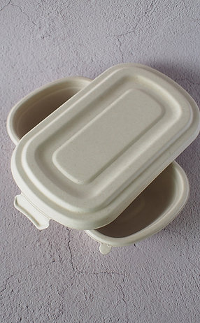 Biodegradable wheat straw food container with lock lid  MOQ 100 pcs