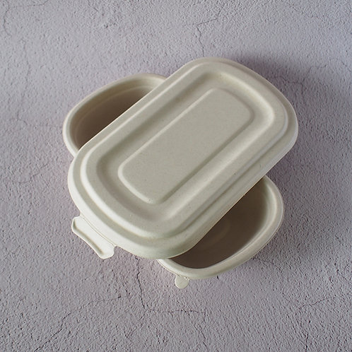 (STOCK) Biodegradable wheat straw food container with lock lid  MOQ 100 pcs