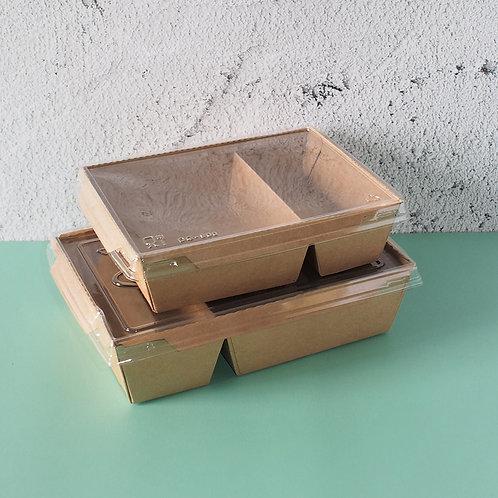 Visual Salad Box Kraft Paper Food Box  2 compartment 200 pcs