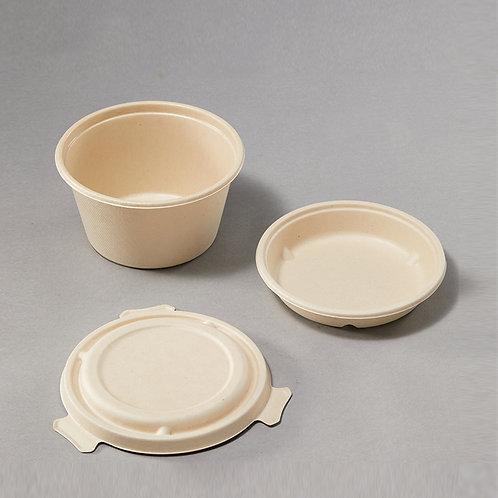 Biodegradable Bagasse PLA coating Bowl Medium w/ Inner Tray and Locking Lid