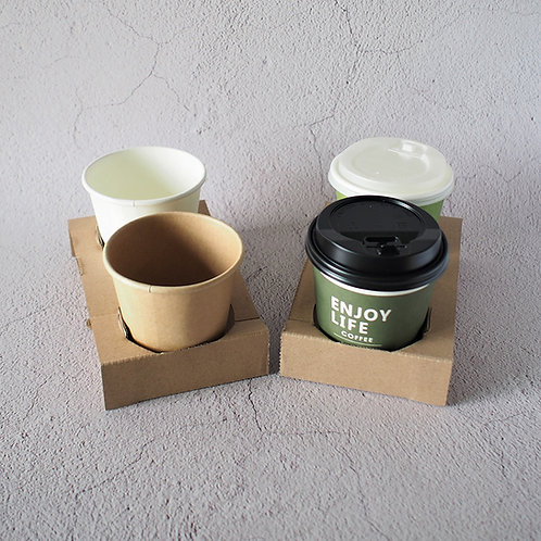 Biodegradable kraft paper coffee cup tray 100 pcs