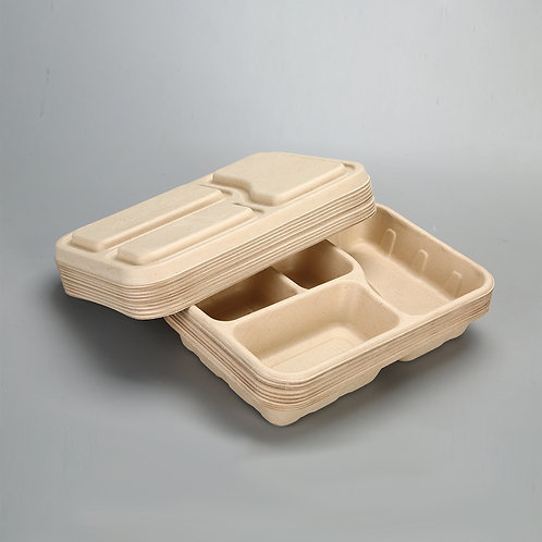 Biodegradable  bagasse food container 850ml multi compartment  200 pcs