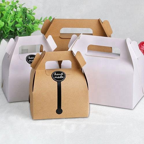 (STOCK)Biodegradable Kraft Paper Cake Tote Box 100pcs