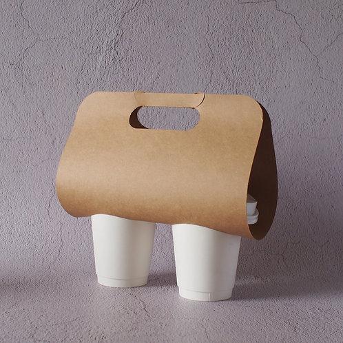 Biodegradable kraft paper coffee cup holder 100 pcs