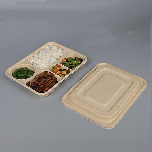Biodegradable sugar cane fibre food container  multi compartment 1250ml 200 pcs