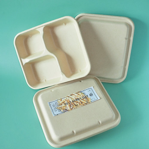 (STOCK) Biodegradable  bagasse food container 200sets