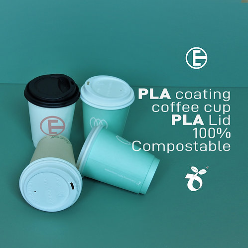 Biodegradable  Coffee cup PLA lamination Customise Logo