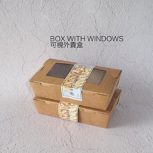 Biodegradable kraft paper Pe coating food container w/ windows 100 pcs
