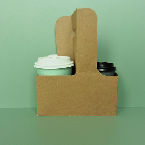 (STOCK) Kraft paper two cups holder