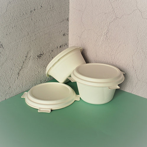 Biodegradable Bagasse Bowl Large Size w/ Locking Lid 200sets