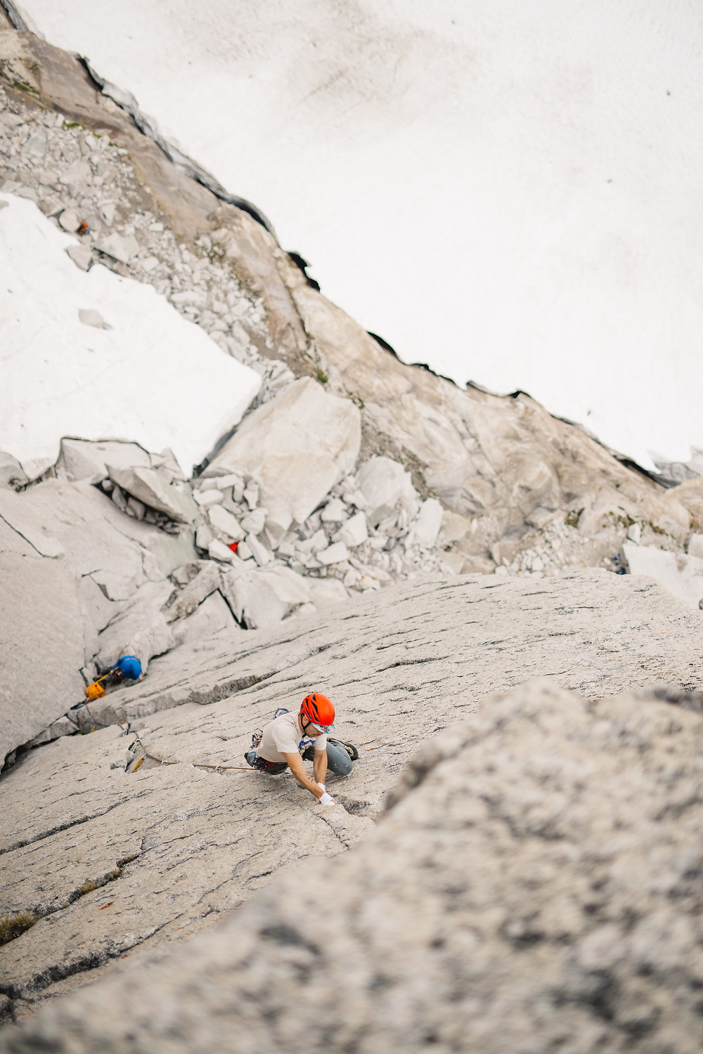 Climbing the crux pitch of McTech Arete