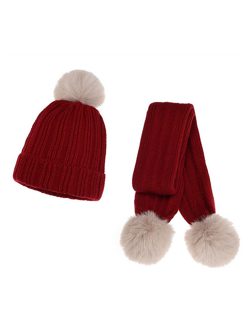 PARKER POM POM KNIT BEANIE + SCARF SET (MULTIPLE COLORS)