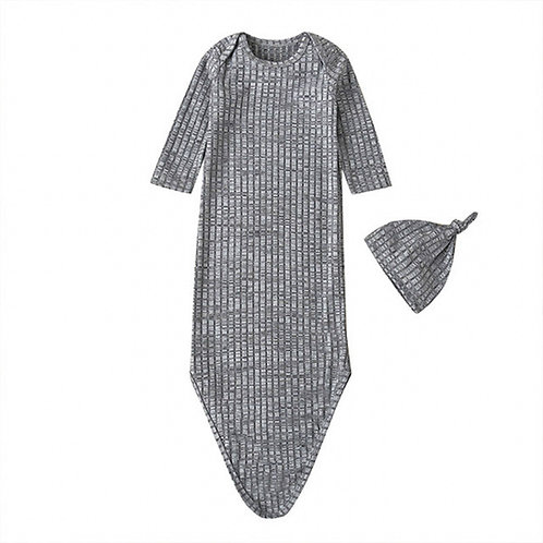 HENLEY KNOTTED SLEEP GOWN + HAT SET - GREY