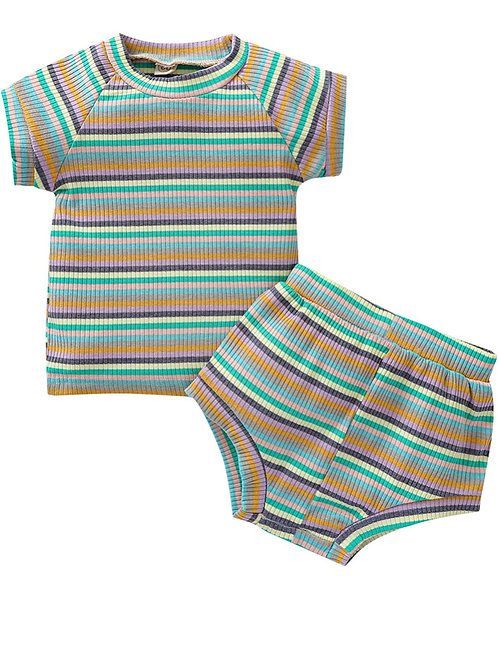 LAILA STRIPES TWO-PIECE  SET - GREEN