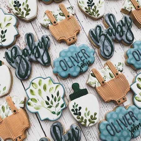 #BabyShowerGoals - Leafy Onesie Baby Shower Cookies