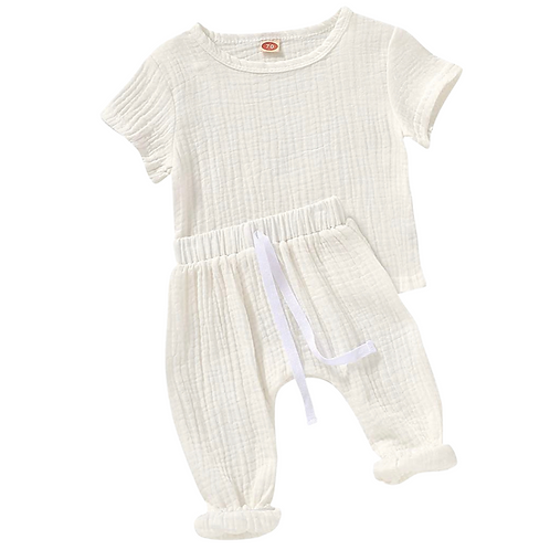 ALLIE MUSLIN TWO-PIECE SET - WHITE