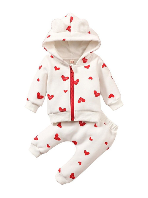 LOVELY HEARTS HOODED TWO-PIECE SET
