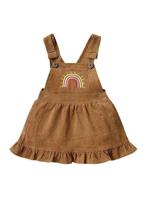 TOUCH THE RAINBOW CORDUROY OVERALL DRESS