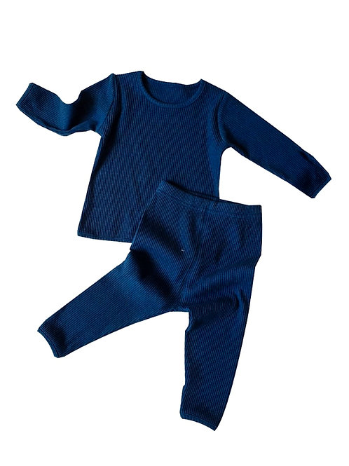 CHARLIE RIBBED TWO-PIECE  SET - DEEP BLUE