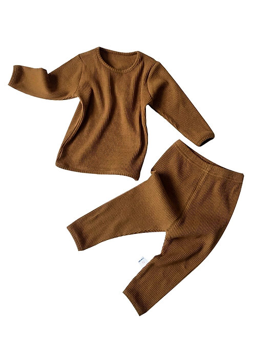 CHARLIE RIBBED TWO-PIECE  SET - BROWN