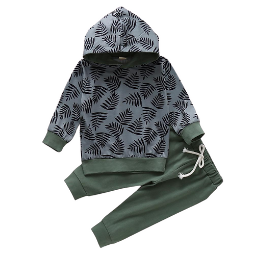 MOODY LEAF HOODED TWO-PIECE PANT SET