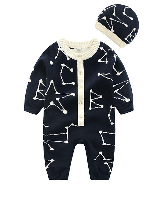 CONSTELLATION KNIT ROMPER + HAT SET