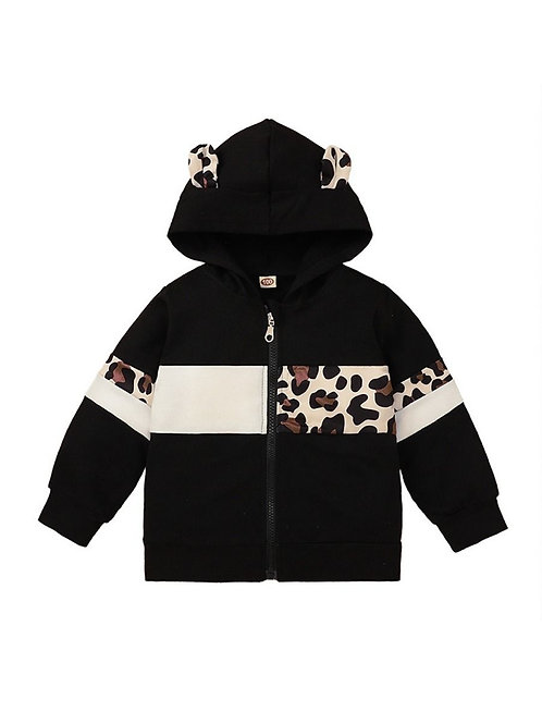 LEOPARD EARS COLOR-BLOCK HOODIE JACKET