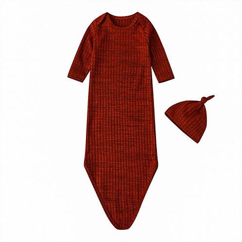 HENLEY KNOTTED SLEEP GOWN + HAT - RED