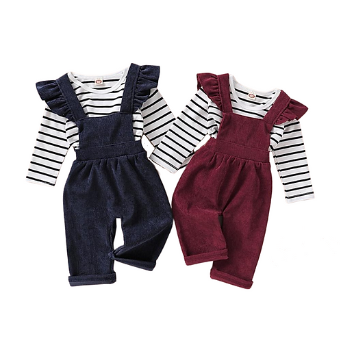 LEAH STRIPES TWO-PIECE OVERALL SET