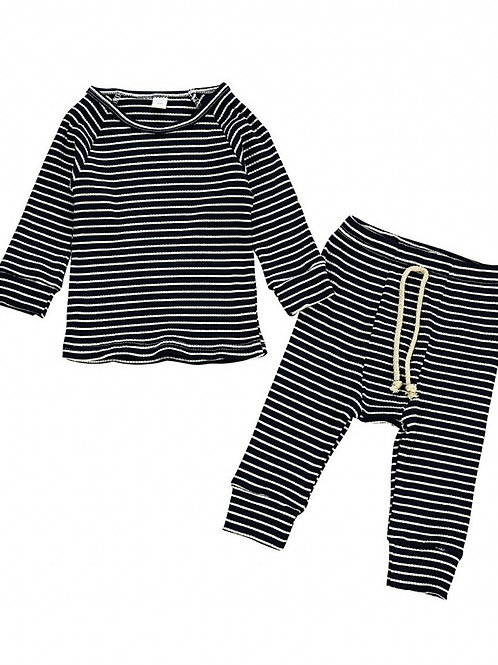 MARLEY STRIPED TWO-PIECE SET - NAVY BLUE