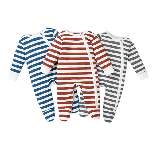 OLIVER STRIPED FOOTED ROMPER