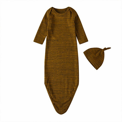 HENLEY KNOTTED SLEEP GOWN + HAT - BROWN