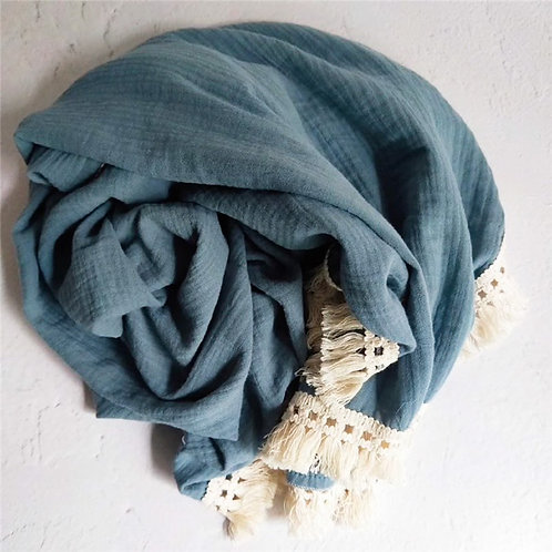 BOHO FRINGE MUSLIN SWADDLE - STEEL BLUE