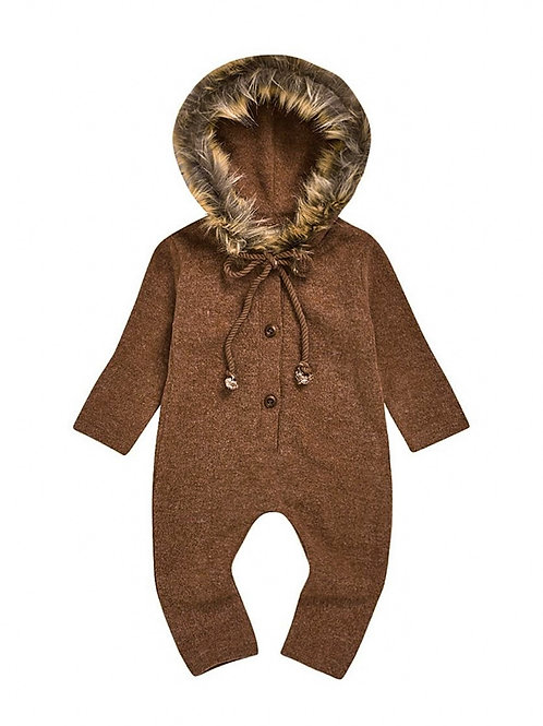 SAWYER FAUX FUR HOODED ROMPER (MULTIPLE COLORS)