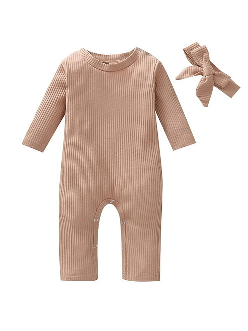 GENEVIEVE RIBBED ROMPER + HEADBAND SETS (MULTIPLE COLORS)