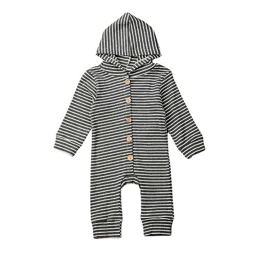 KENDALL RIBBED HOODED ROMPER - GRAY